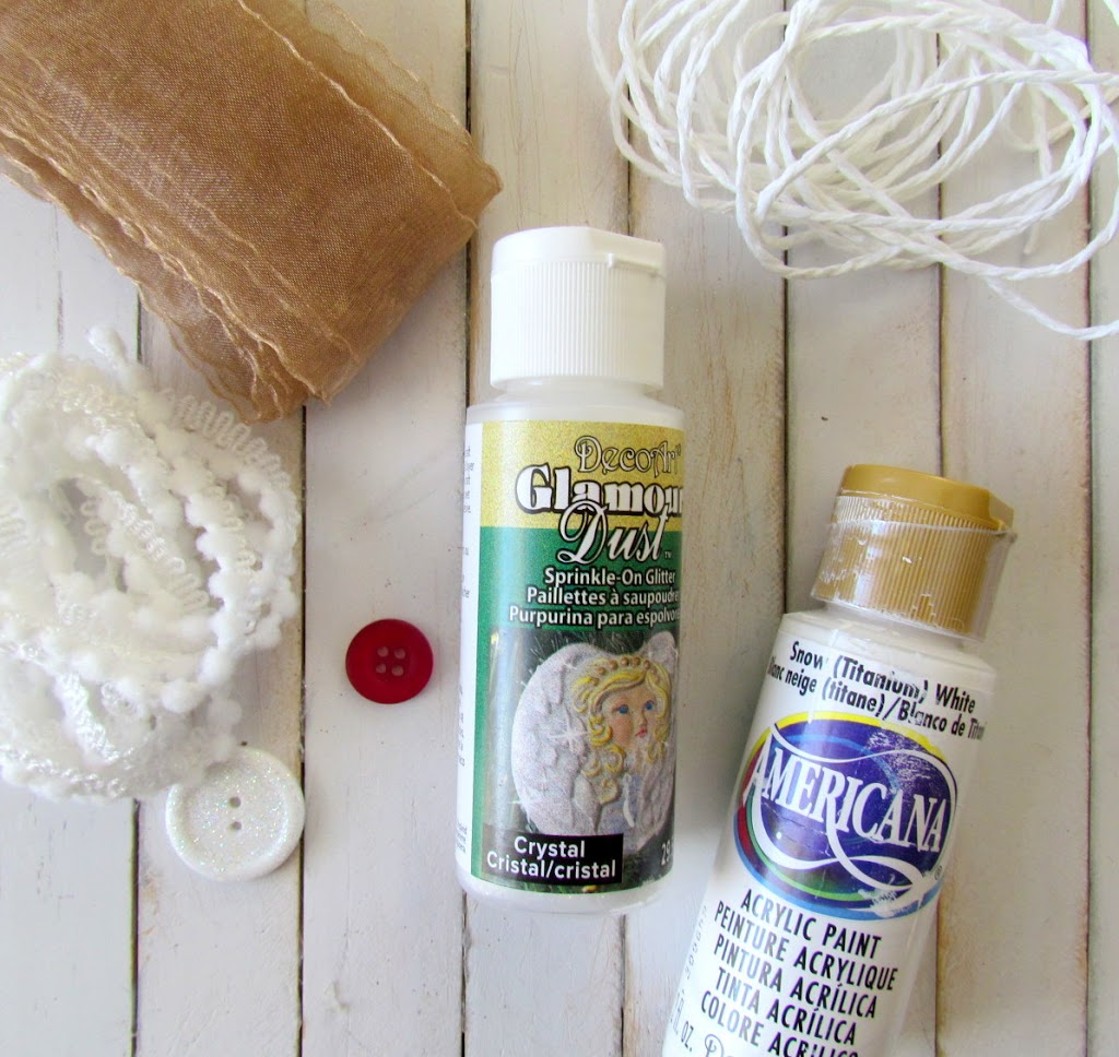 Supplies used to make Snow Angel Ornaments