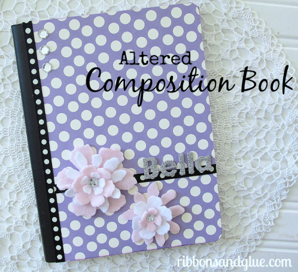 How to alter a Composition Book. Turn a plain composition book in to a personalized journal with scrapbooking paper and embellishments.