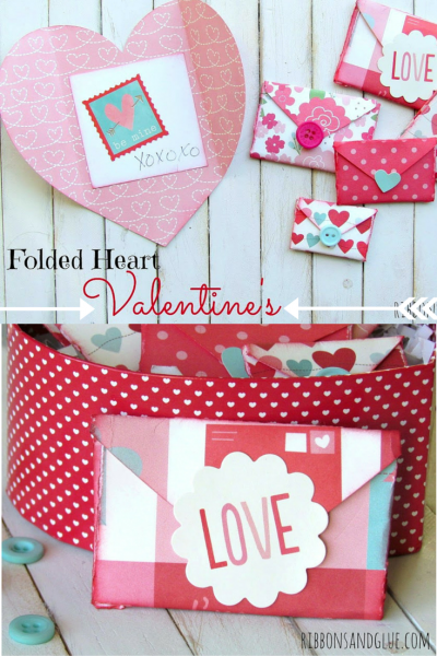How to make Folded Heart Valentine's. All you need is paper hearts to create these unique Valentine's envelopes.