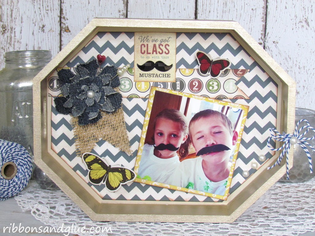 DIY painted Mustache Photo Tray made from a painted wood tray, and @echoparkpaper kit.  Such a creative Mother's Day Gift Idea