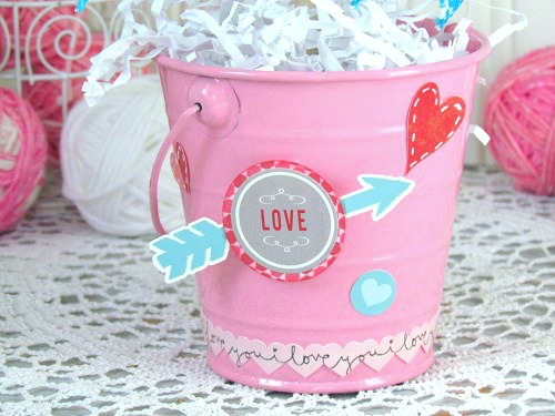 Pink Pail to hold Valentine's Day Topiary