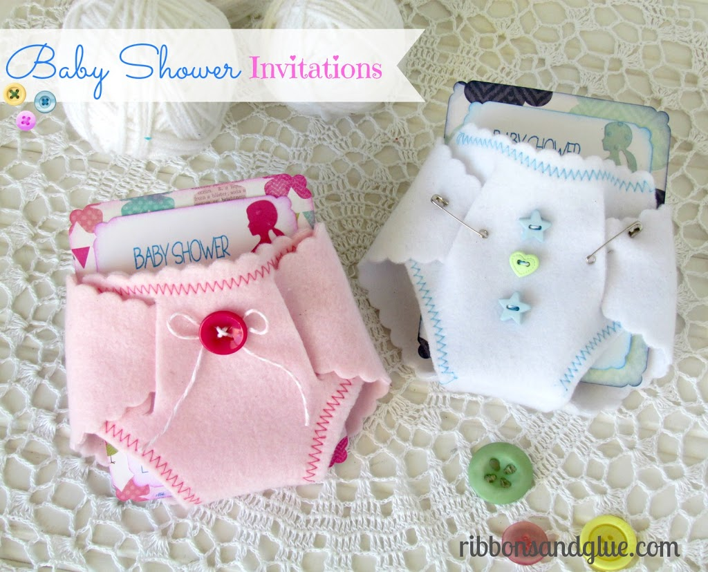 DIY Baby-Shower-Invitations made with felt diapers