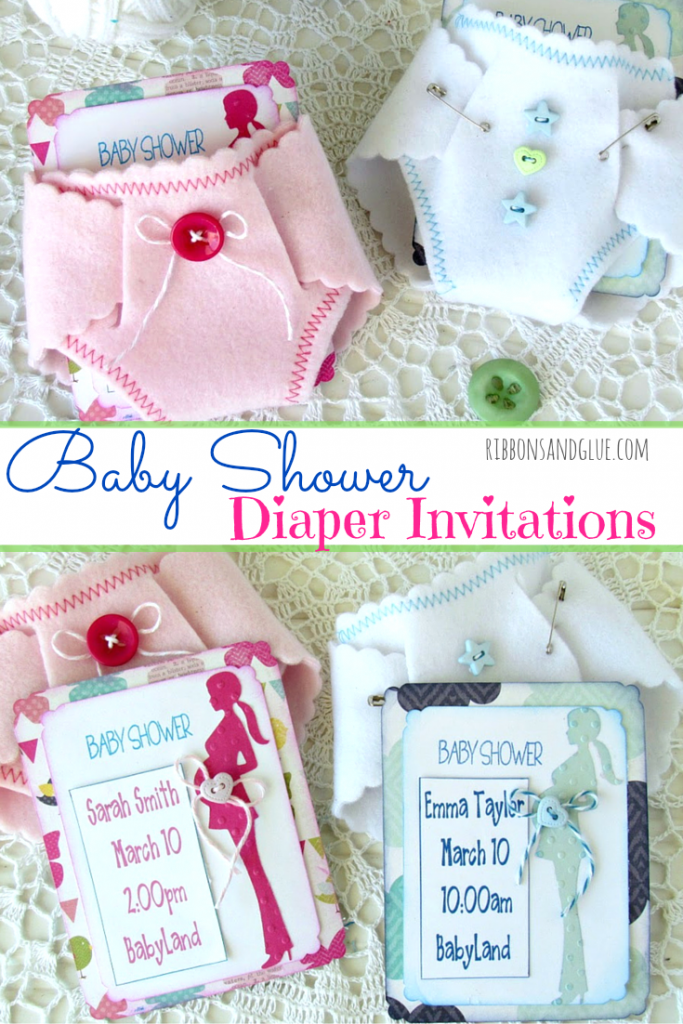 Felt Diaper Baby Shower Invitaions