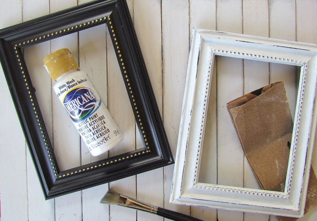 Dollar Store Frames painted white then distressed with sandpaper. Easy upcycle!