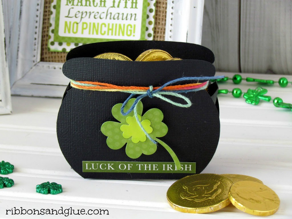 Paper Pot-O-Gold cut with Silhouette and filled up with chocolate gold coins.
