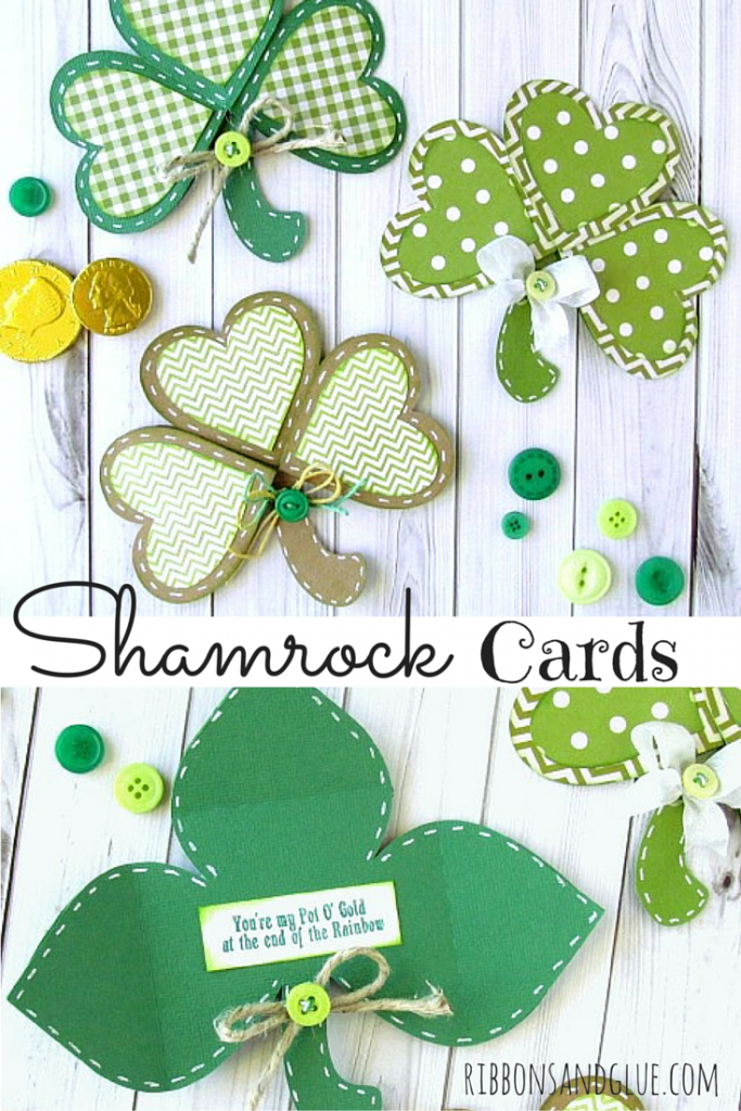 Lucky Shamrock Cards made with Silhouette. When the card is opened, a lucky message waits inside.