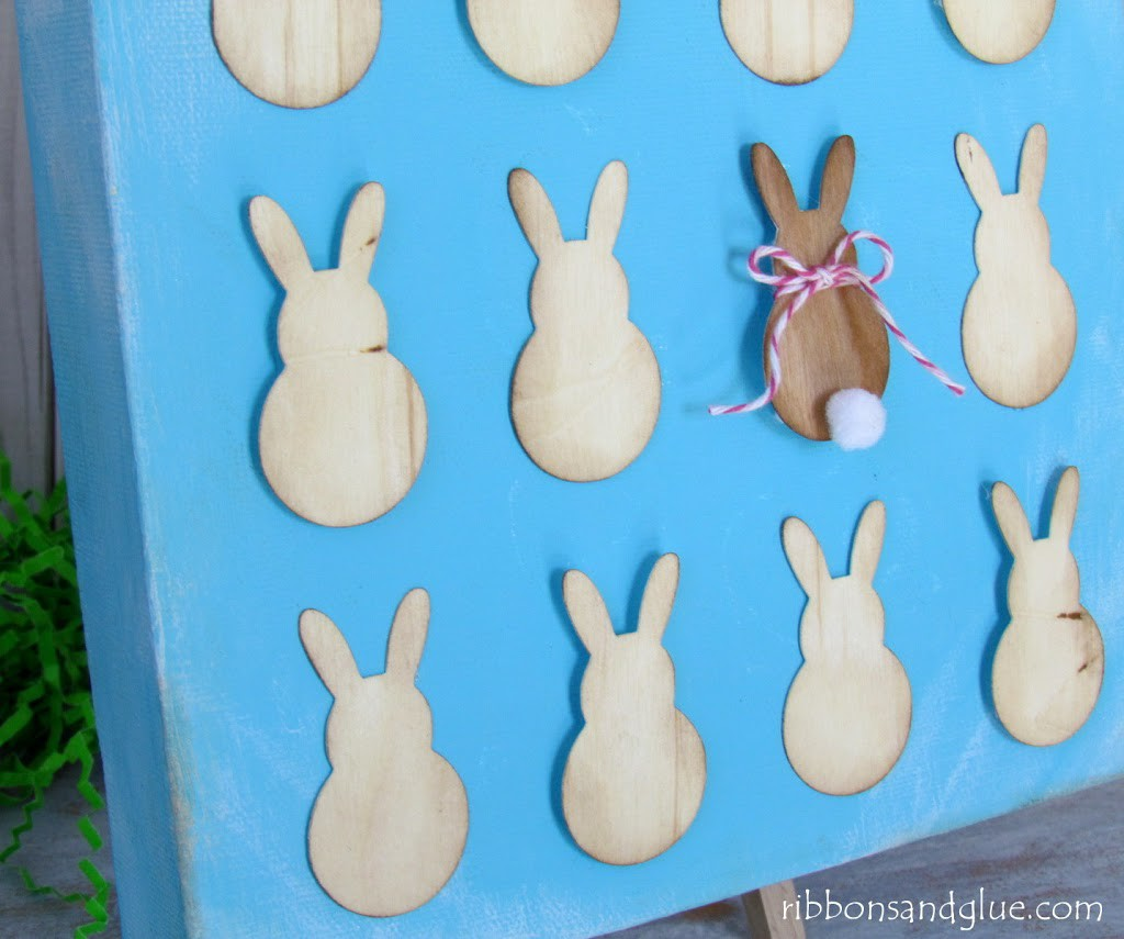 Easter Bunny Specimen Art Canvas made with  Wood Veneer Paper and Silhouette cut file
