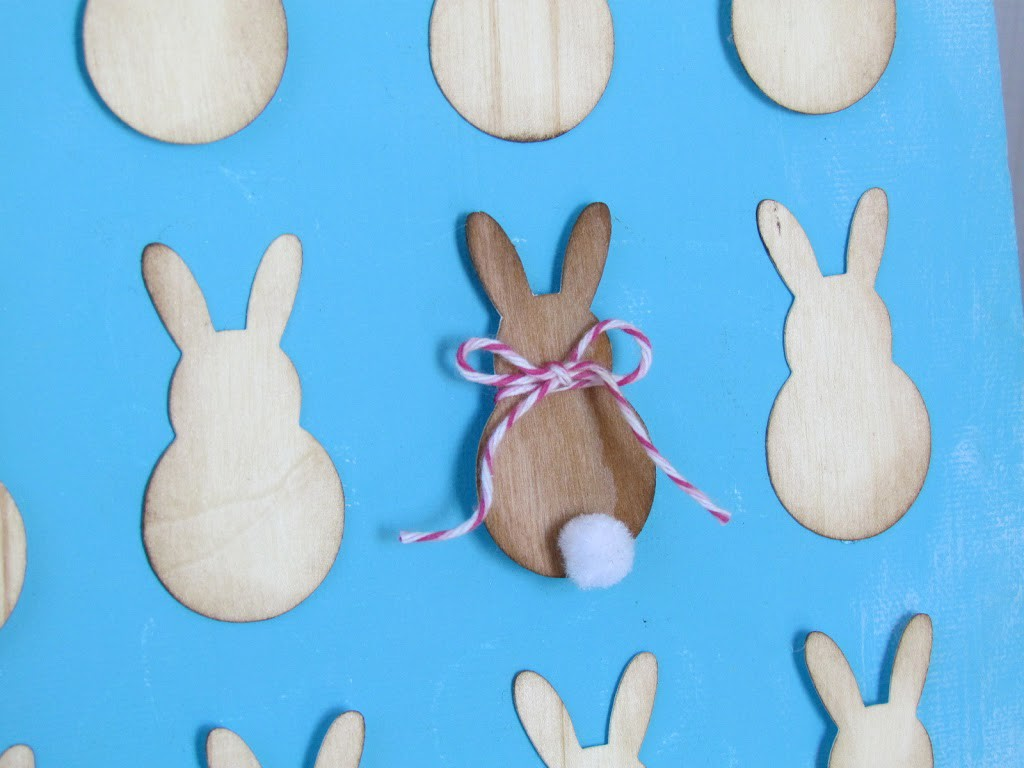 Easter bunnies cut out of wood veneer paper and SIlhouette