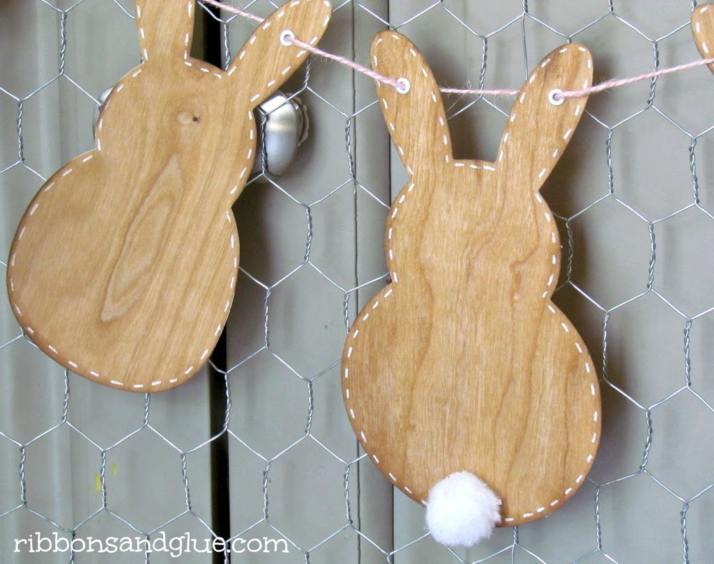 Bunny Banner Made with Wood Veneer Paper