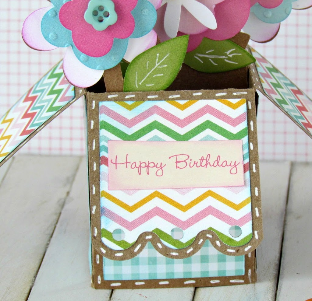 Flower Pot Box Pop-Up Card made with Silhouette Cameo and Scrapbooking Paper.