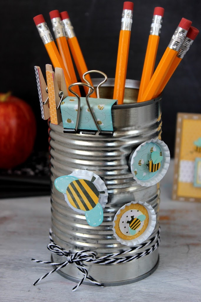 Tutorial on how to make DIY Teacher Supply Holder with Bottle Cap Magnets