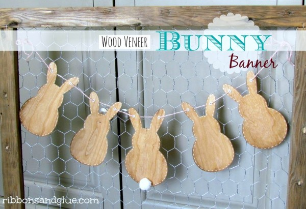 Wood Veneer Bunny Banner made with wood paper and Silhouette. So cute for Easter!