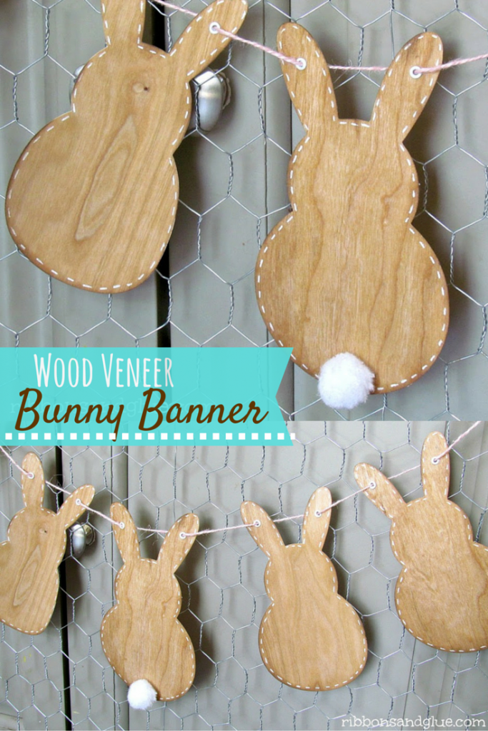 Wood Veneer Bunny Banner made with silhouette and wood Veneer paper. So cute for Spring!