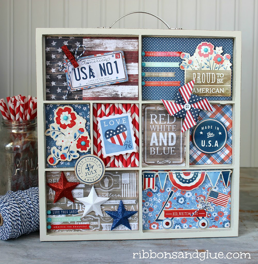 Celebrate 4th of July with a DIY Patriotic Memory Tray made with the @pebblesinc Americana collection