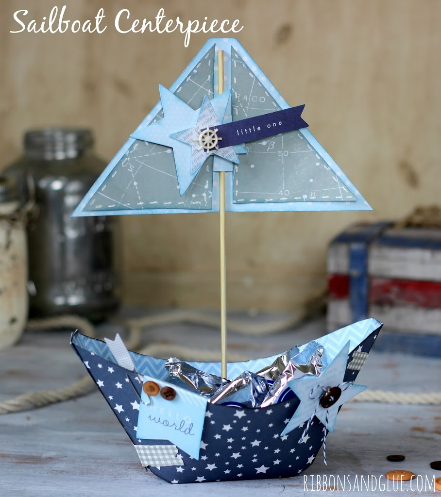 Nautical Sailboat Centerpiece made with @pebblesinc Special Delivery collection and @silhouetteamerica cut file