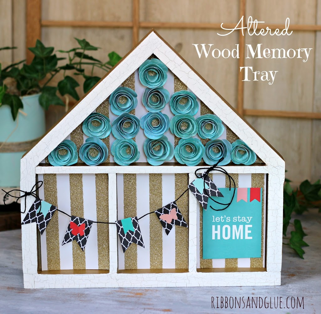 Altered Wood House Memory Tray made from @Pebblesinc Home + Made collection #tatertotsandjello