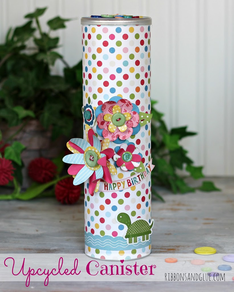 Upcycled Treat Canister made from an Upcycled Pringles Can.  Great Earth Day idea