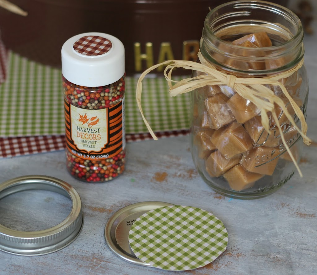 Mason Jar Filled with caramels to make Caramel Apple Basket gift idea