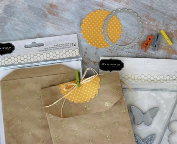 Glitter Gold Kraft Bags