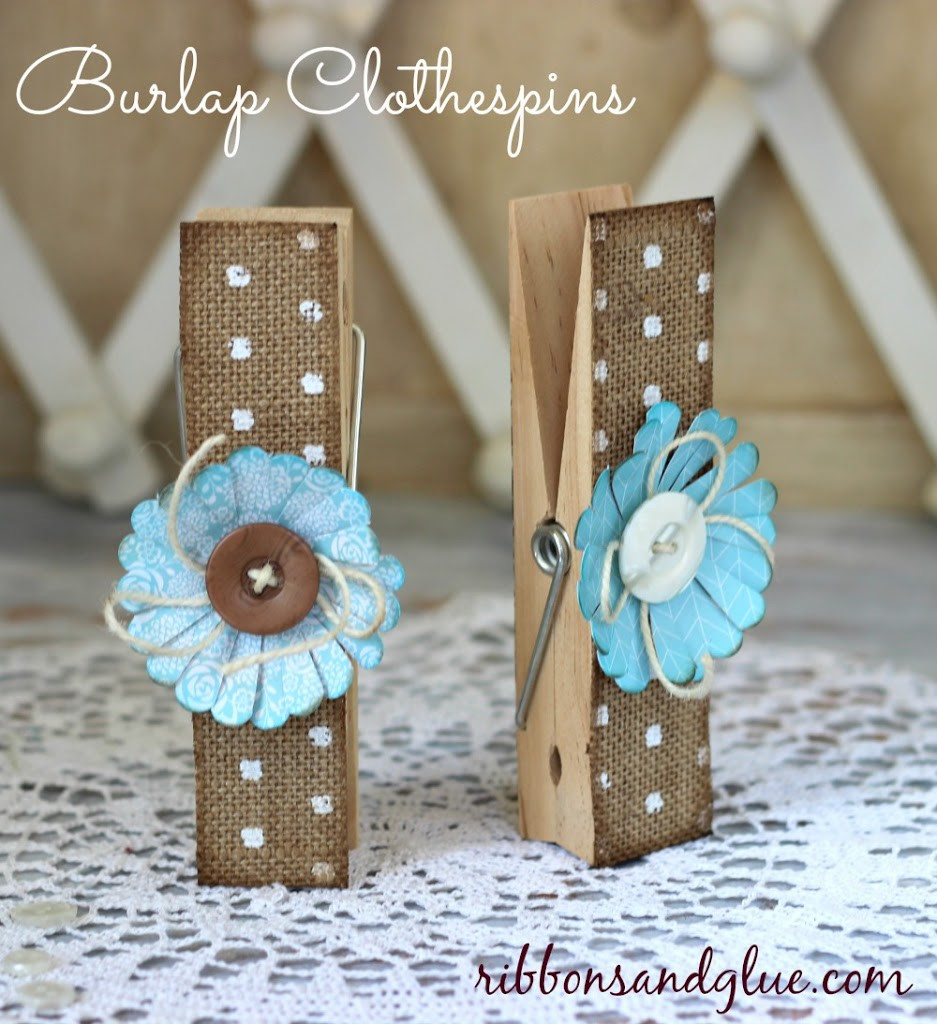 DIY Decorative Clothespin Crafts. How to make Burlap Clothespins out of jumbo wood clothespin. Great idea for organization with any Shabby Chic Decor