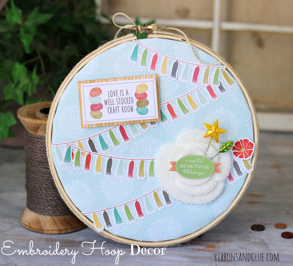Altered Embroidery Hoop with Echo Park Paper