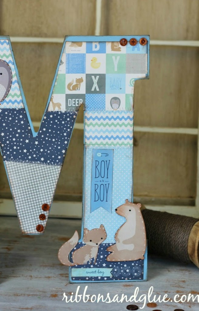 Woodland Nursery Monogram using #pebblesinc Special Delivery collection and #modpodge @ribbonsandglue