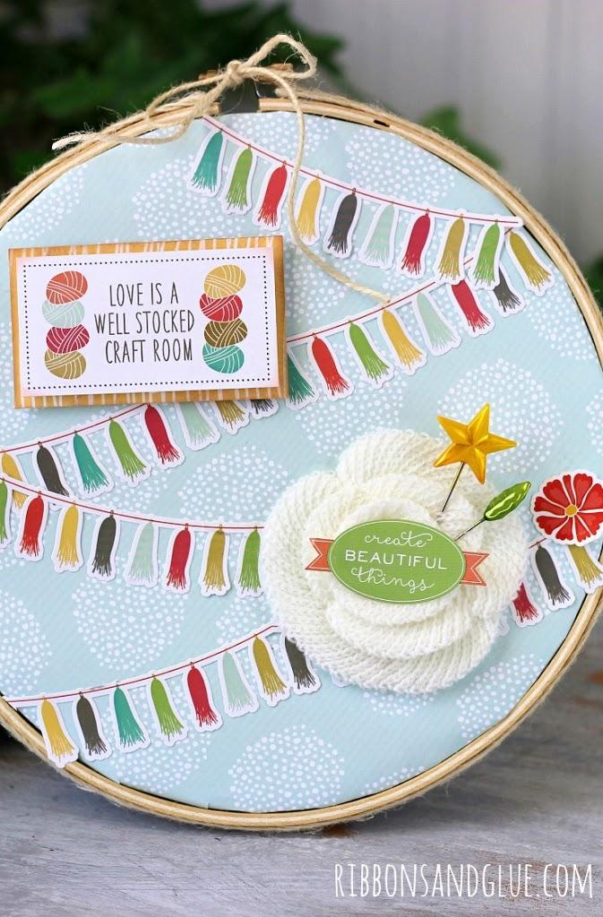 DIY Altered Embroidery Hoop  @ribbonsandglue #echoparkpaper