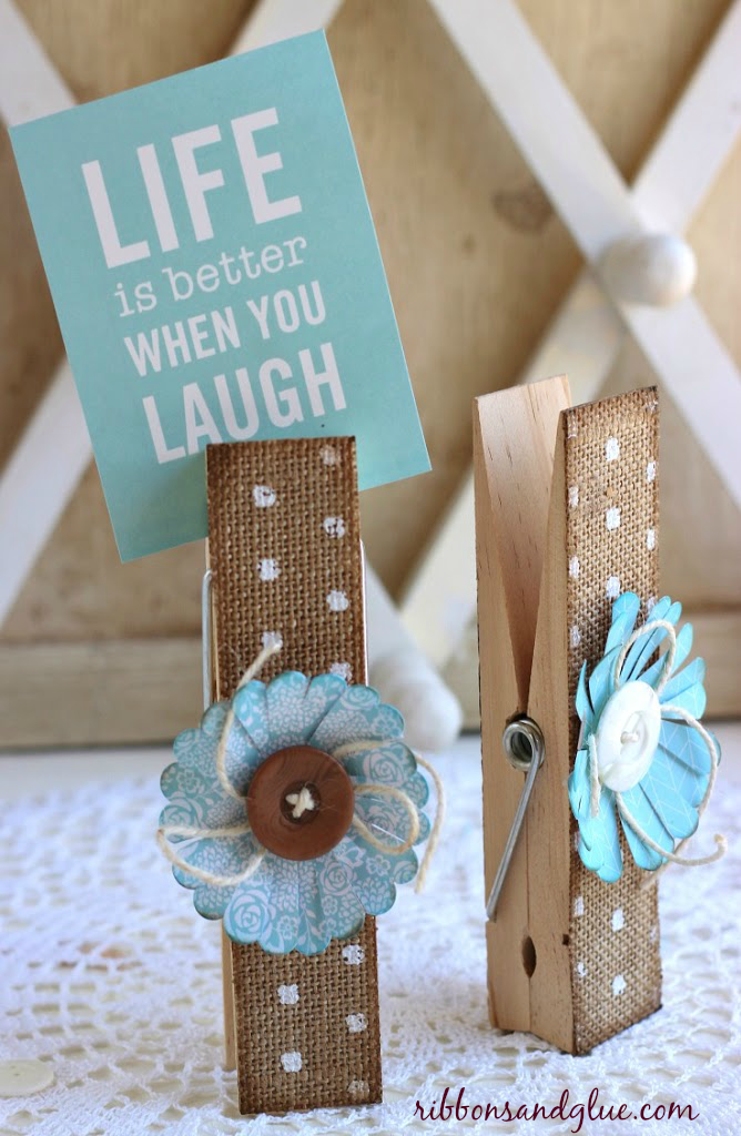 How to make DIY Burlap Clothespins