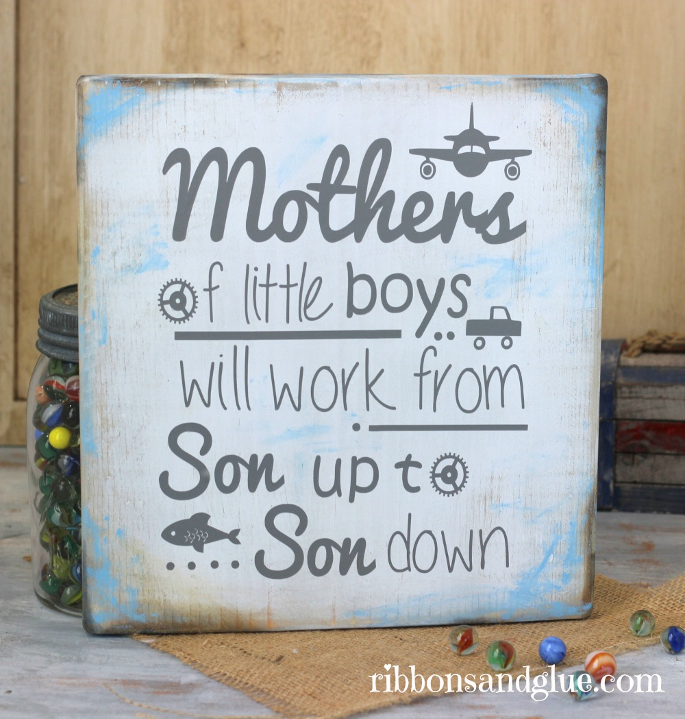 Mothers of Little Boys Wood Sign