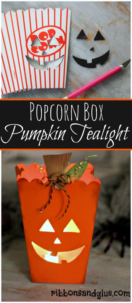 How to make a Pumpkin Tealight Holder out of a popcorn box. Fun way to welcome Trick or Treaters up your driveaway