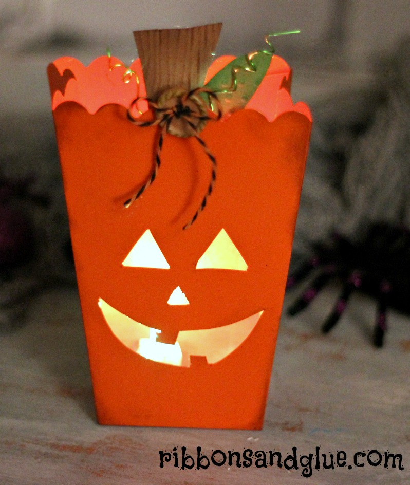 Pumpkin Tea Light Holder made from a Popocorn Box