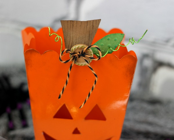 Pumpkin Tealight Holder made out of a popcorn box