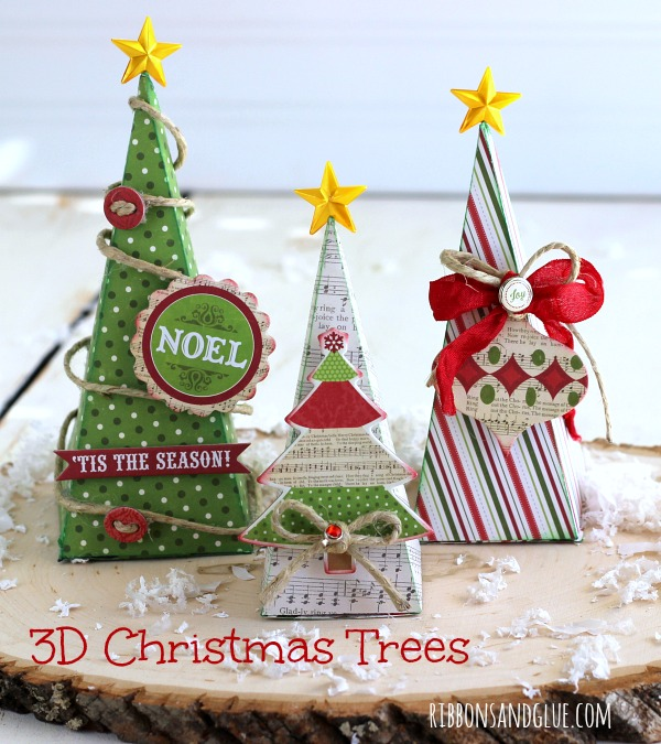3D Paper Christmas Tree made with Home for the Holidays kit and Silhouette carrot box cut file