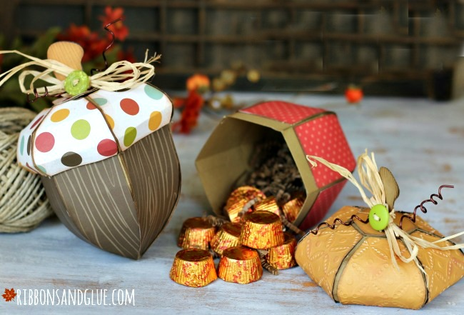 Fall Acorn Boxes made with Silhouette CAMEO perfect to fill up with Fall treats.