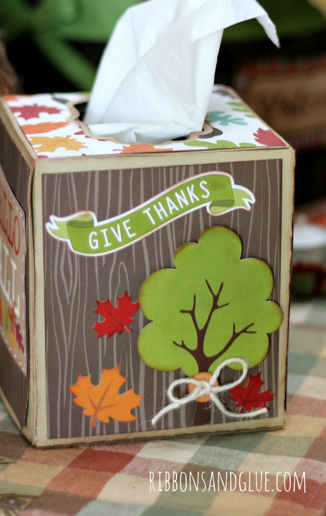 Fall Tissue Box made from @echoparkpaper I Heart Fall kit and @silhouetteamerica
