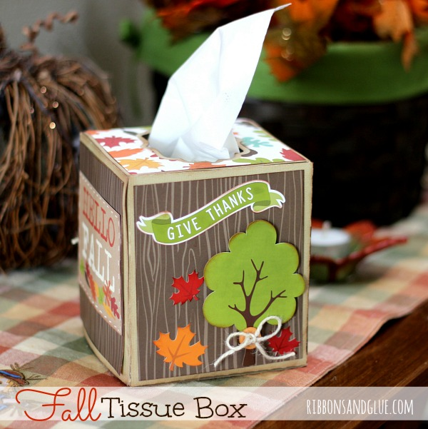 Fall Tissue Box made with @silhoutteamerica cut file