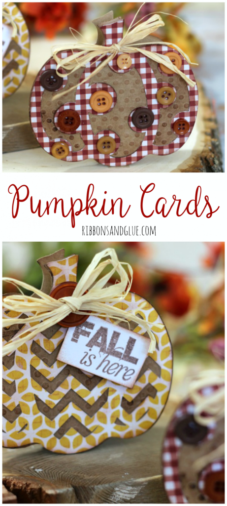 Fall Pumpkin Cards made with pumpkin die cut shapes turned in to cards.  Easy card making  technique for any die cut shape.
