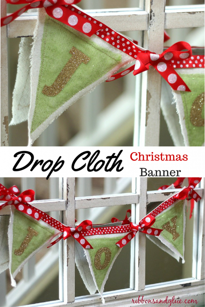 DIY Christmas Banner made with drop cloths. and iron vinyl. Drop cloths are such an easch and inexpensive fabric to work with.