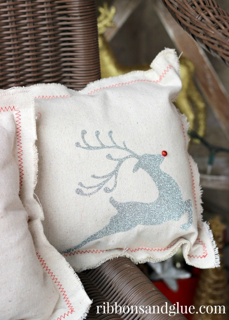 Drop Cloth Pillow using Silver Glitter Heat Transfer