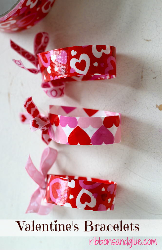 Valentine's Duct Tape Bracelets made with Valentine's Duct Tape. Easy Valentine's Day craft, Just cut, fold and tie!