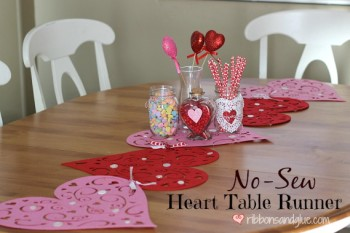 No-Sew Valentine's Heart Table Runner