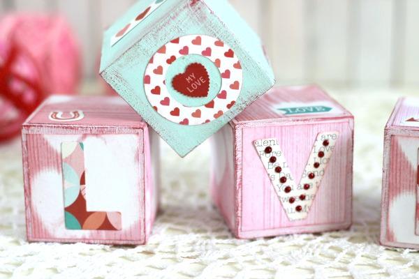 DIY Valentine's Love Blocks. Simple Valentine's Day craft