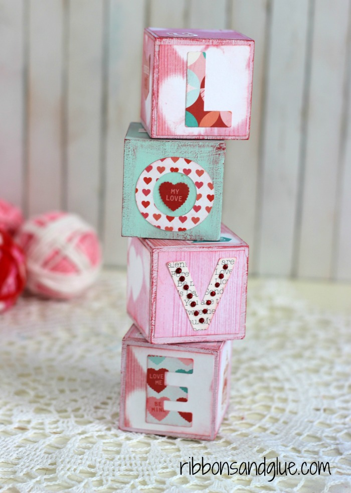 Valentine's Blocks made with chalky finish paints and scrapbooking paper. Easy Valentine's Day craft for any age!