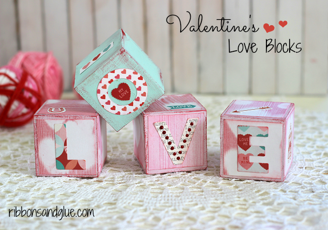 DIY Valentine's Love Blocks made with chalky finish paints and scrapbooking paper.