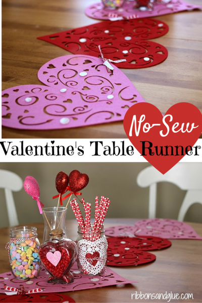 No Sew Valentine's Table Runner. Dollar Store placemates tied togher with ribbon to make a Vlaenint's table runner. Super Easy Craft!