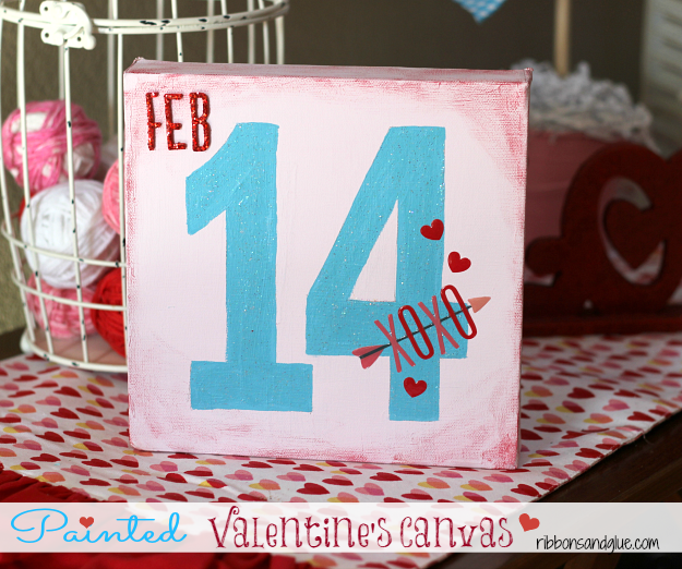 DIY Painted Valentine's Canvas. Paint a 8 x 8 canvas with chalky paints to make this easy Valentine's Day craft.