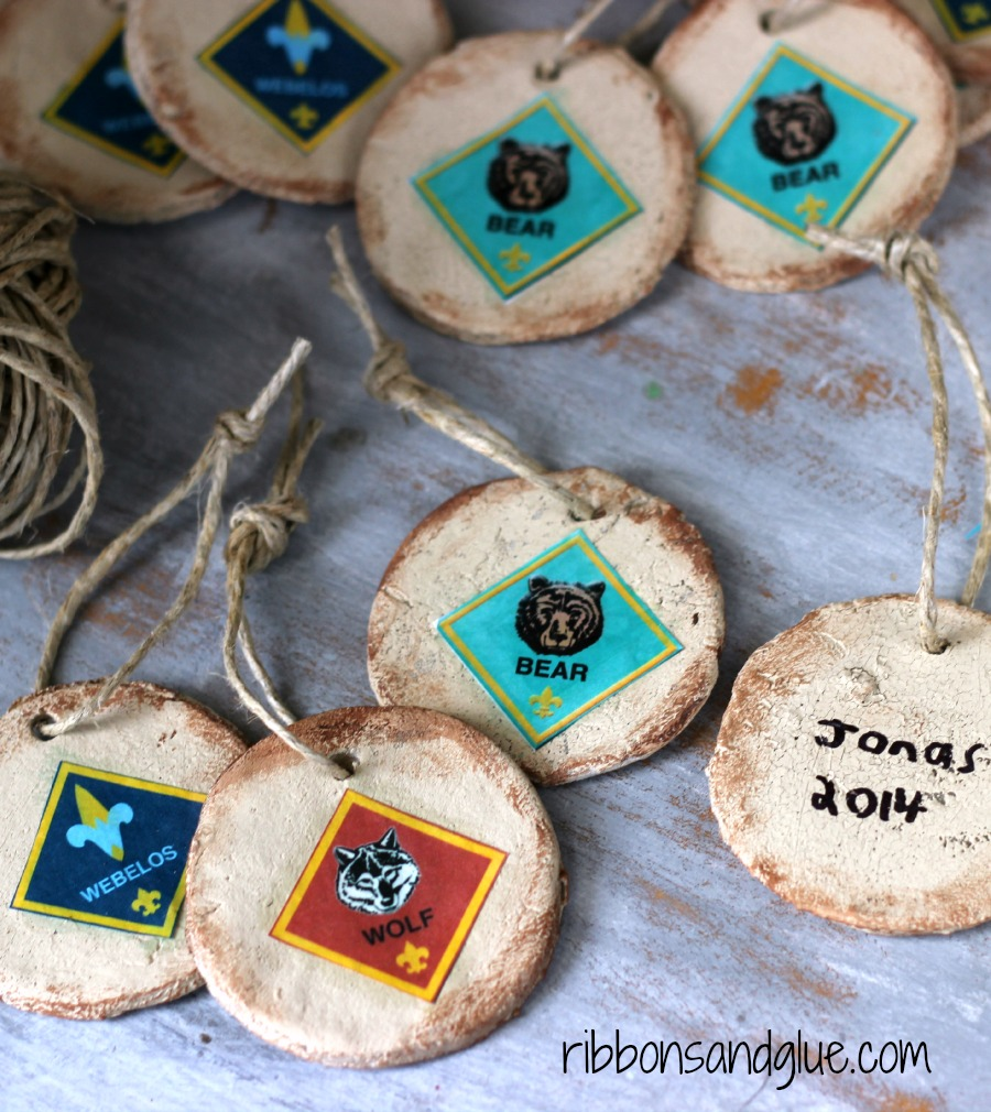 DIY Rustic Salt Dough Ornaments perfect, inexpensive gift for Cub Scouts. All you have to do is mod podge an image of rank on to ornament and have boys sign with a Sharpie