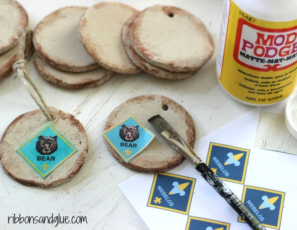 Cub Scout Salt Dough Ornaments mod podged with Scout Rank