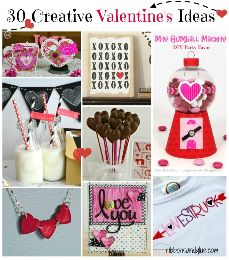 Roundup of 30 Creative Valentine's Ideas. Free printables, cards, home decor, tablescapes and gift ideas to make your Valentine's Day easy this year.