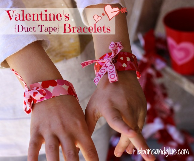 Valentine's Duct Tape Bracelets made with Valentine's Duct Tape and ribbon. Easy Valentine's Day craft, Just cut, fold and tie!